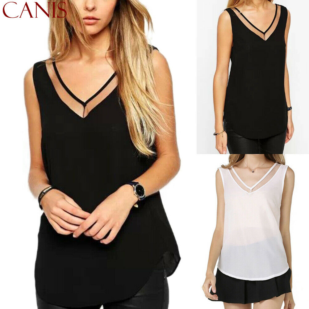 2020 Newest Hot Women Summer Solid Vest Chiffon Mesh Patchwork Sleeveless Tanks Ladies Cami Sexy V-Neck Tank Tops
