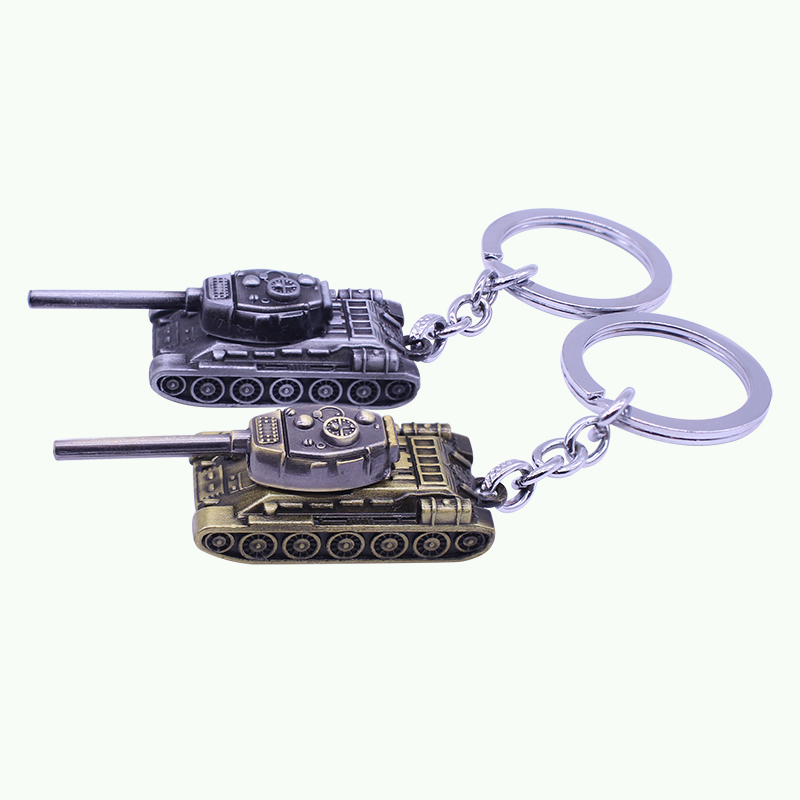 2017 Hot Sale Popular Game Silver And Gold Around WOT Key Chain World Of Tanks Key Holder Tank War Keychain Metal Gift Pendant
