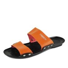 Дешевые домашние тапочки мужские из натуральной кожи Британские мальчики пляж флип-флоп сандалии мода плюс размер мужчин сандалии слайды свободный корабль
