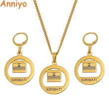 Anniyo Kiribati Flag Necklace Earrings Set for Women Girls Gold Color Jewelry Stainless Steel Stud Earring #060421(China)