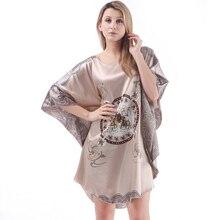 Ladies Sexy Silk Satin Nightgown Bat sleeves Night Dress printed Nightwear Sleeping Dress Women Pyjama lingerie Bathrobe