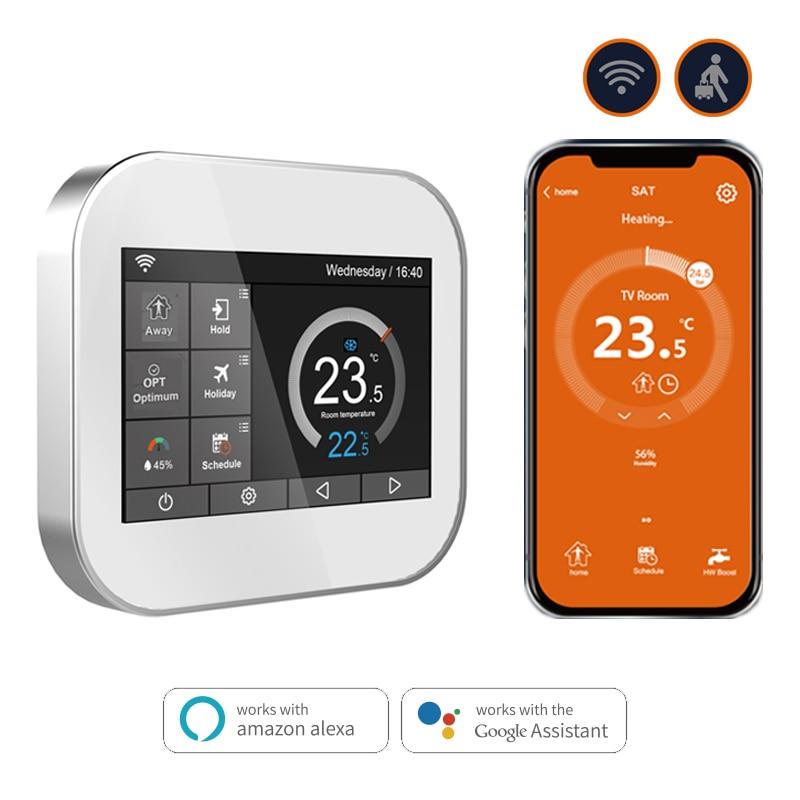 Thermostat tactile Wifi pour le chauffage de l'eau/vanne de radiateur par anglais/allemand/polonais/tchèque/italien/Spainish contrôle par téléphone intelligent