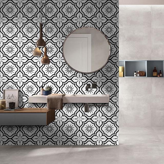 Self Adhesive White And Black Style Bathroom Wallpaper Anti-slip Floor Tile Waterproof Wall Stickers Kitchen Floor Tile Sticker