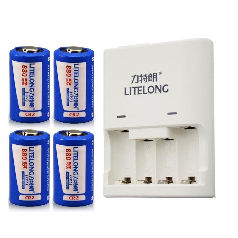 4 шт. 880 мАч 3 В <font><b>CR2</b></font> аккумуляторная батарея LiFePO4 литиевая батарея + 1 шт. Выделенный зарядное устройство