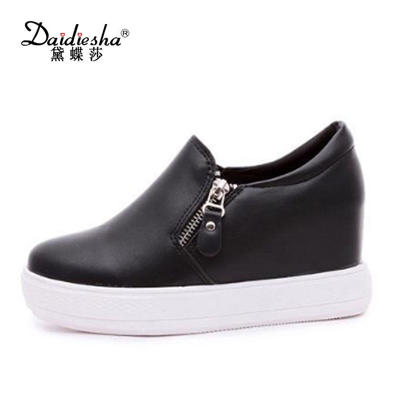 Daidiesha 2017 2017 Fashion Women Summer low Heel Wedge Shoes Woman Increased Internal Zipper  Pumps Summer Ladies Spring Pumps 2015 spring and summer wedge heel women pump zipper ladies casual brow shoes