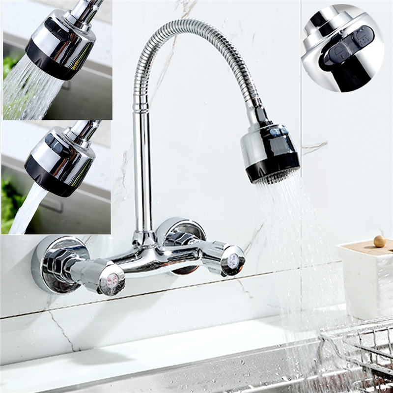 Xueqin 360 Pipe Rotation Wall Mount Chrome Pull Down Kitchen Sink Spray Faucet Mixer Tap Polished Chrome Modern Dual Handle
