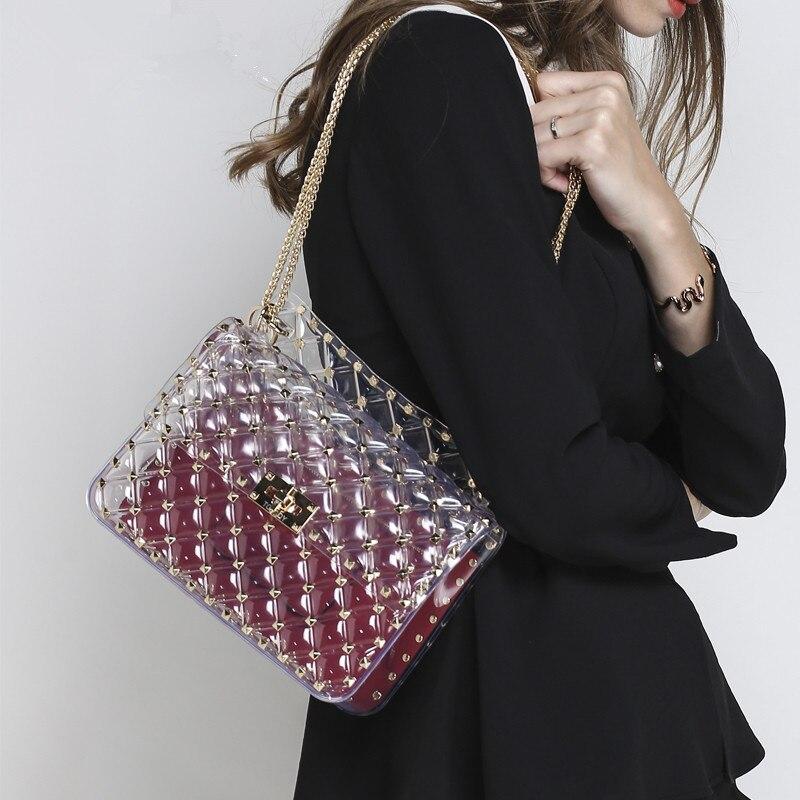 New Fashion Lady Clear Transparent Shoulder Bag Diamond Lattice Women Chain Rivet Messenger Bag Female Purses and Handbags Louis все цены