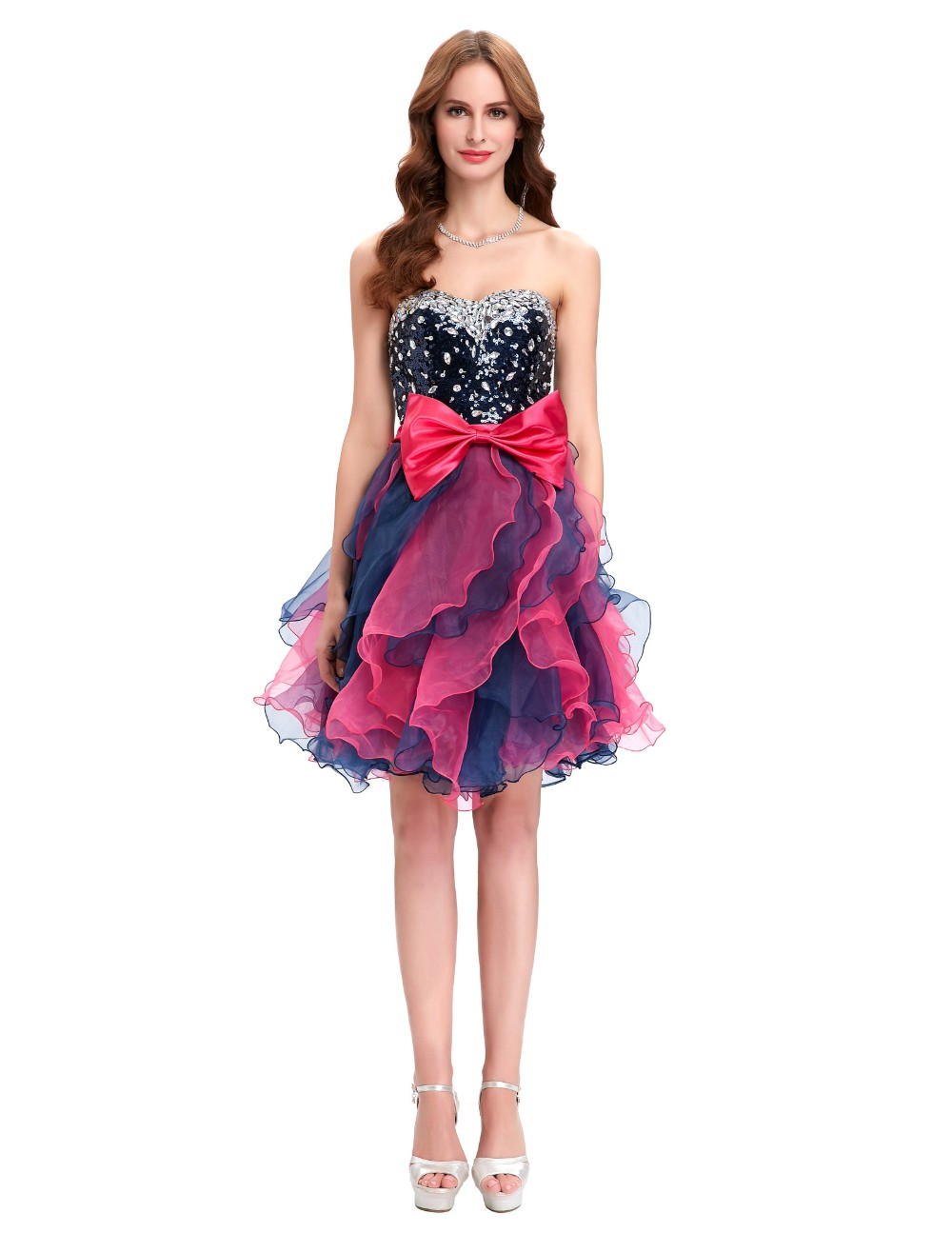 Grace Karin Short Prom Dress Ball Gown Robe De Cocktail Colorful Sequin Organza Prom Gowns Sexy Party Special Occasion Dress 9