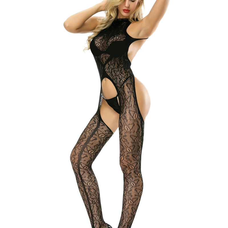 <font><b>Women's</b></font> <font><b>Sexy</b></font> Lingerie Bodystocking Hollow Print Black Transparent Porno <font><b>Catsuit</b></font> Body Stocking Babydoll HOT Sex Fetish Bodysuits image