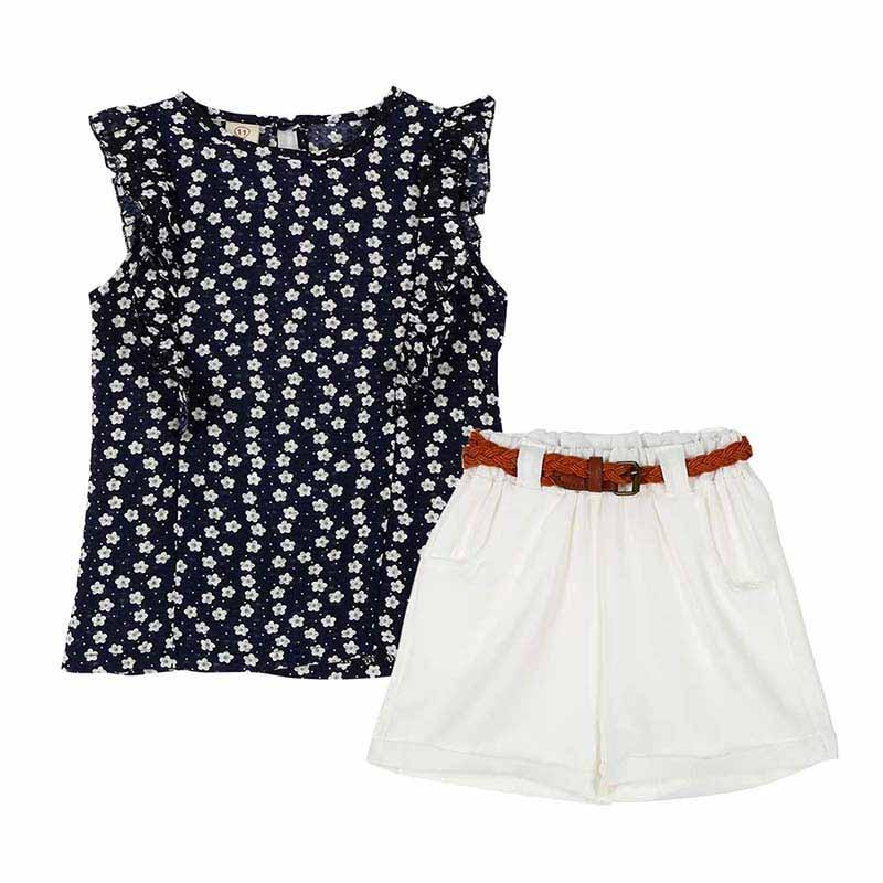 Summer-Toddler-Kids-Baby-Girls-Clothes-Sets-Floral-Chiffon-Polka-Dot-Sleeveless-T-shirt-TopsShorts-Outfits-L16-1