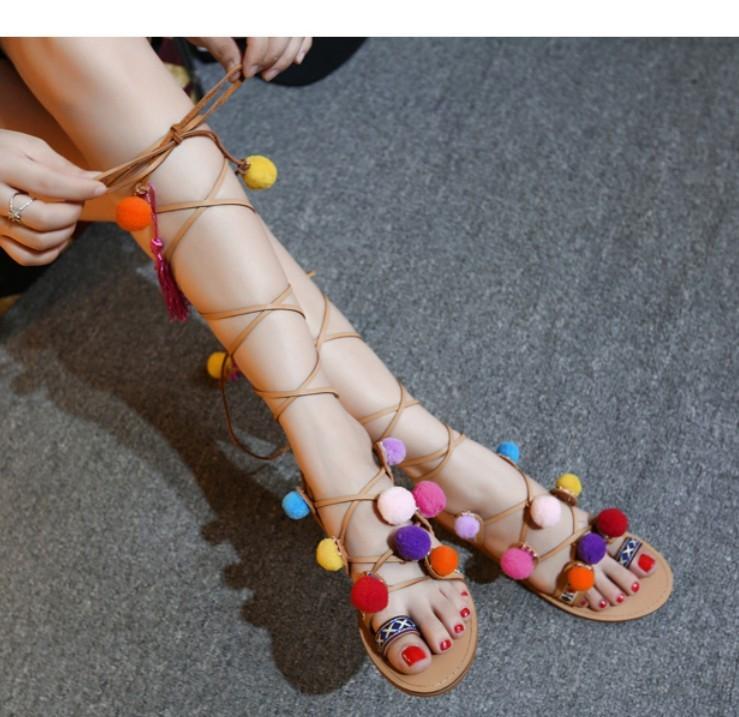 Bohemian Pompon Gladiator Sandals – Free Shipping! HTB1LM3aKpXXXXbBXXXXq6xXFXXXm