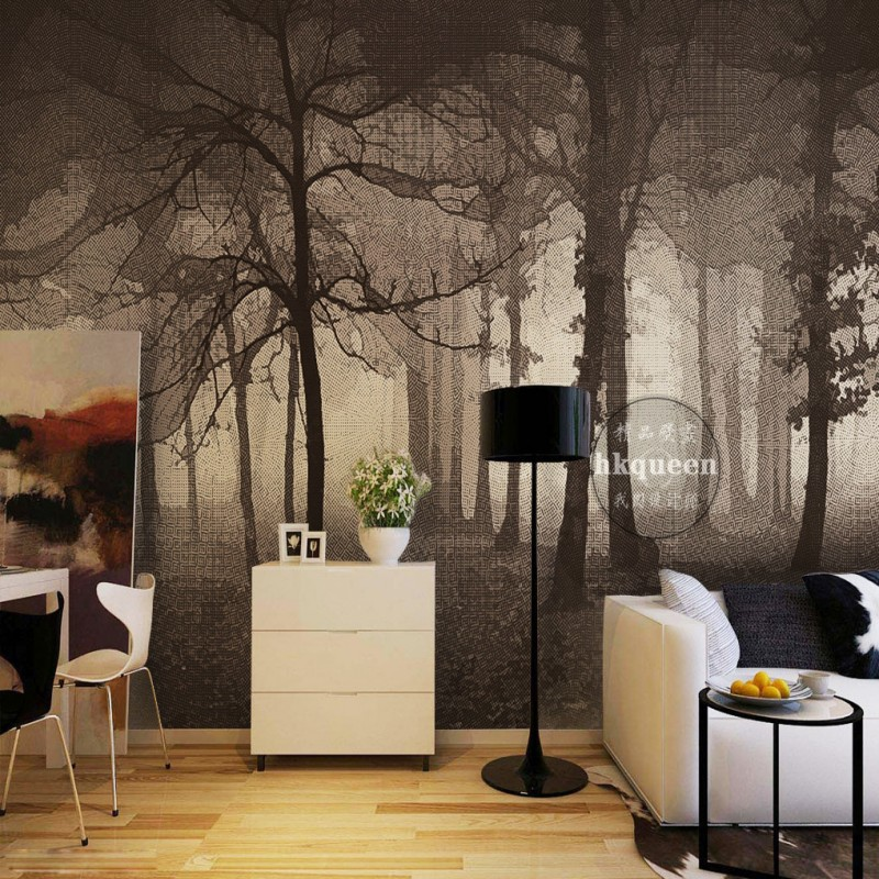 Custom photo wallpaper 3d nordic simple elegant forest for Dining room mural wallpaper