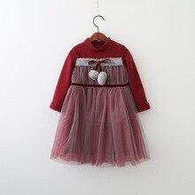 Everweekend Kids Girls Sweet Western Fashion Ball Tutu Princess Dress Baby Children Mesh Tulle Patchwork Autumn Dress