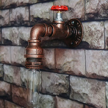 Wall-Lamp Loft American Water-Pipe Study Single-Sconces Dining-Room Vintage Iron Foyer