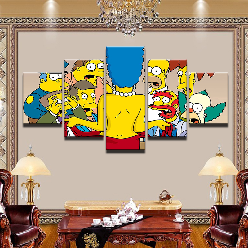 Art Cartoon Simpsons Canvas Painting 5pcs Framed Modular