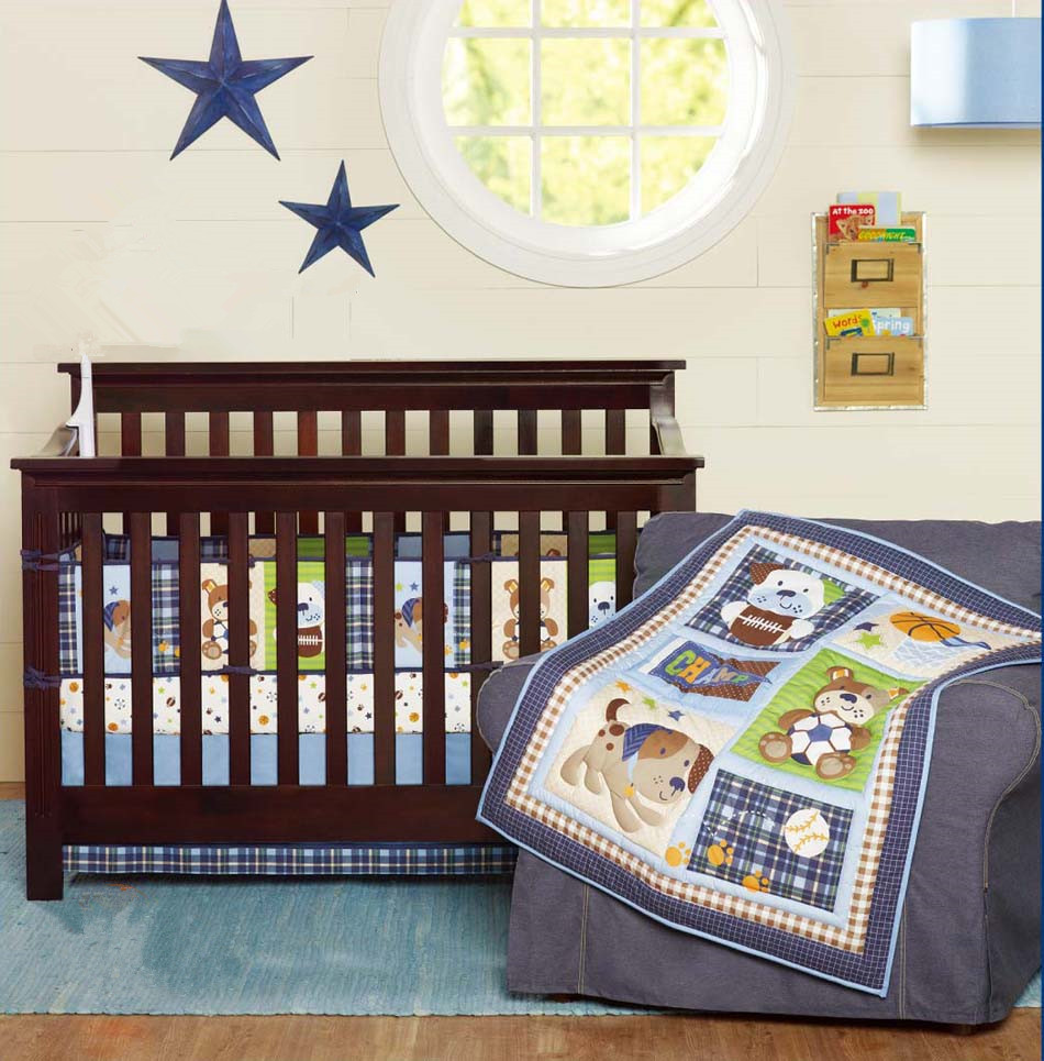 Promotion! 5PCS embroidery baby cotton crib bedding set Applique bed around,include(bumper+duvet+bed cover+bed skirt+diaper bag)
