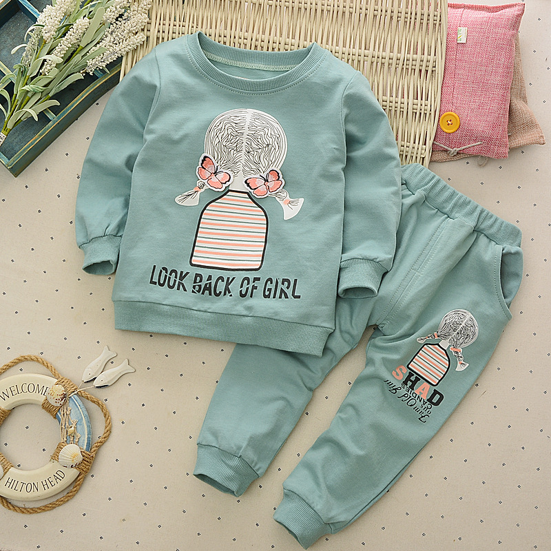 Baby Girls Clothing Sets Spring Cute Prit Beauty Costume Kids Autumn Boys Long Sleeve Clothes Set Suit Children Casual Tracksuit  casual kids clothes boys girls clothing sets sports autumn 2017 2pcs girl tracksuit hooded boy set long sleeve children suit