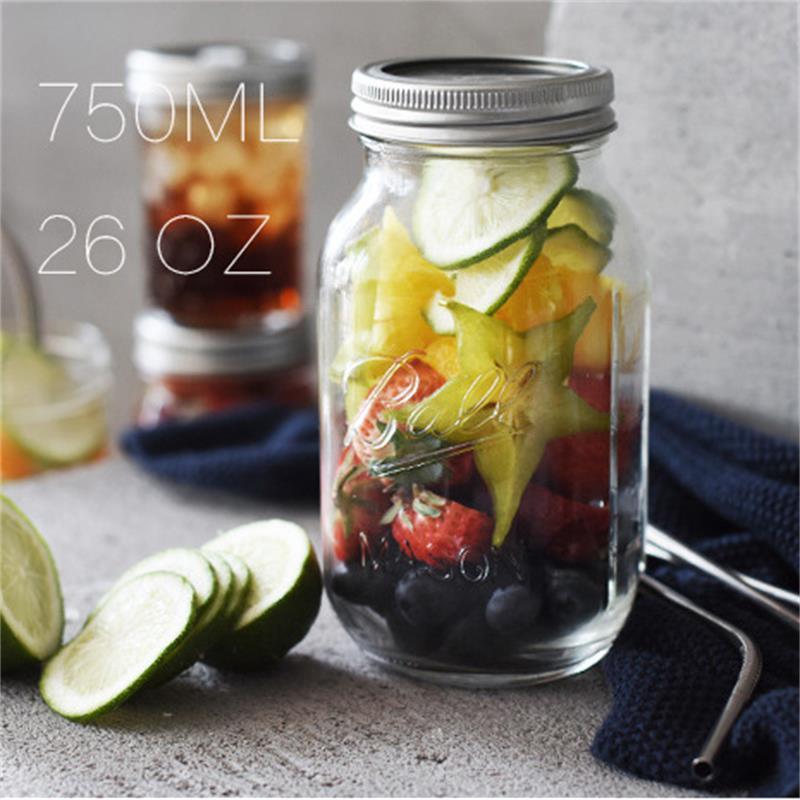 130 ~ 780ML Mason Jar glas kopp dryck rån med lock halm sommar Glass - Hemlagring och organisation - Foto 3