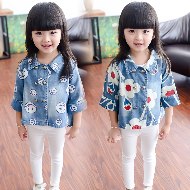 c897a0c27 2018 Spring Fall Girls Fashion Cute Denim Jacket Children s Clothing ...