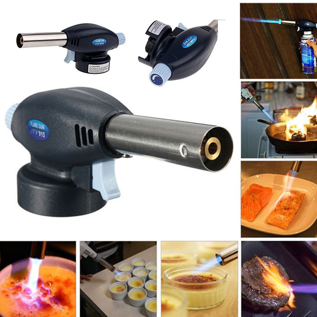 Camping Equipment Outdoor Blow Torch Butane Gas Flamethrower Burner Welding Auto Ignition Soldering BBQ Kamp Malzemeleri