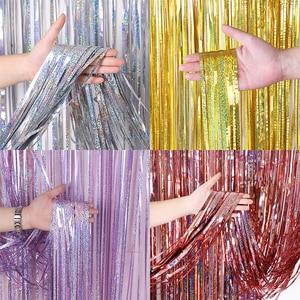 Image 1 - Bachelorette Party Achtergrond Gordijnen Glitter Gold Klatergoud Fringe Folie Gordijn Verjaardag Bruiloft Decoratie Volwassen Anniversary Decor