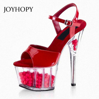 2019 New Summer Fashion Crystal Ball Sandals Women Sexy Transparent High Heel Platform Shoes Female Peep Toe Sandals WS1752
