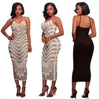 Hot Drilling Spliced Sexy Pencil Dress Women Spaghetti Strap Package Hip Dress 2018 Backless Sleeveless Party Dress L0228