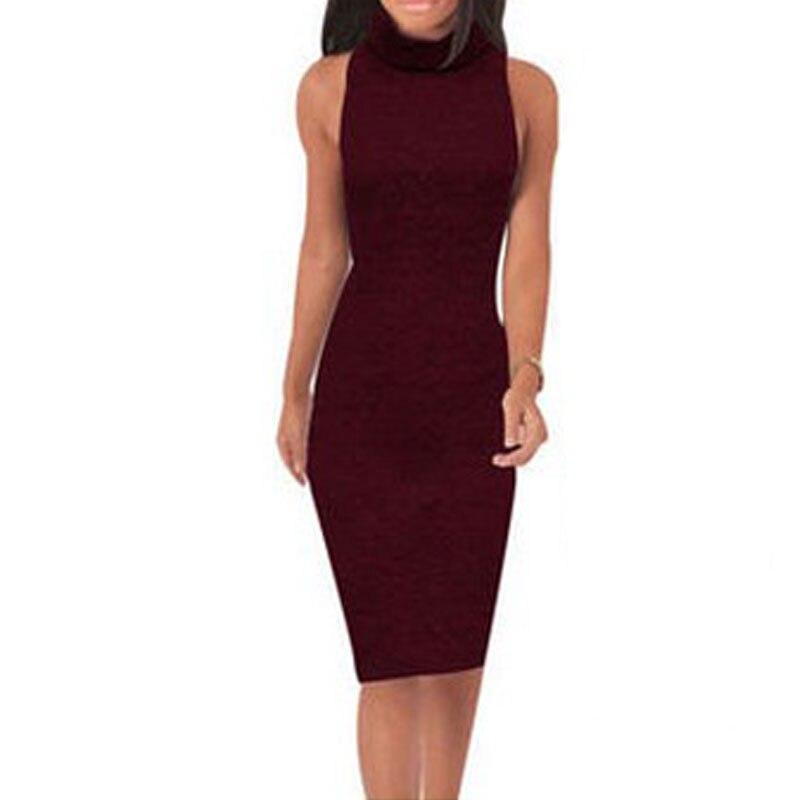 купить Causal Winter Sweater Dress Sleeveless Knitted Dress Sexy Club Dress 2017 Turtleneck Bodycon Tank Dresses Women Vestido De Festa недорого