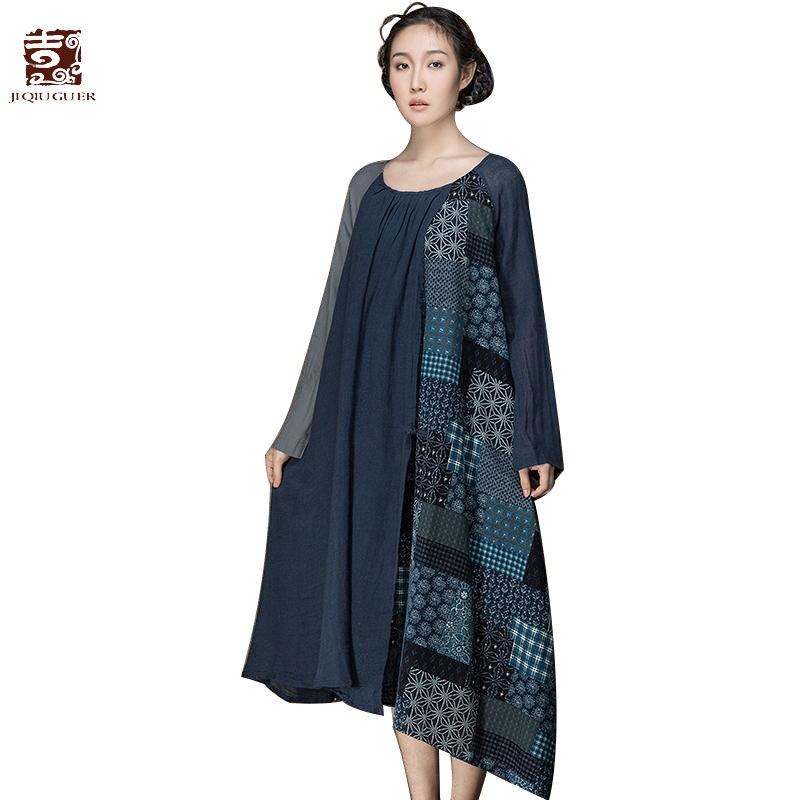 Jiqiuguer Femmes Coton Lin Robes Vintage Plus La Taille D'o-Cou Impression Patchwork Asymétrique Lâche Long Automne Robes G143Y013