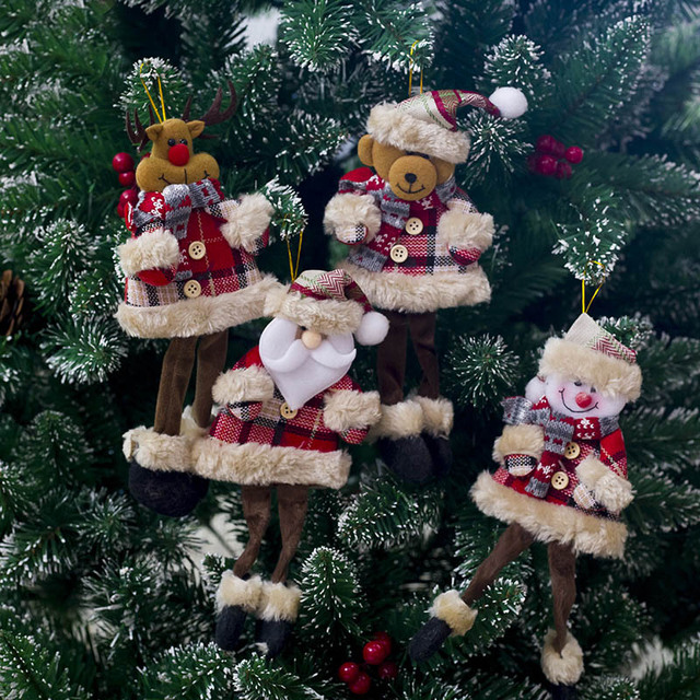 2019 New Year Santa Claus Plush Doll Snowman Ornaments Christmas Tree Hanging Pendant Gift Baubles for Home Decoration SA006