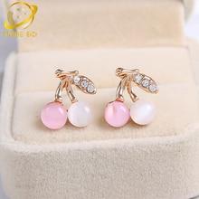 korean cherry opal stud earrings for women fashion jewelry cute studs earring oorbellen perlas aros earing boucle d'oreille цены