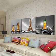 No Frame 3 Panel Modern Paris Effiel Tower Painting Picture City Building Bridge Landscape Painting Canvas Wall Art