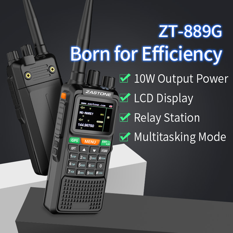 1pc Zastone ZT-889G 10w Walkie Talkie 10w Radio Vhf Uhf 999 Channels GPS Location PMR446 Ham Radio