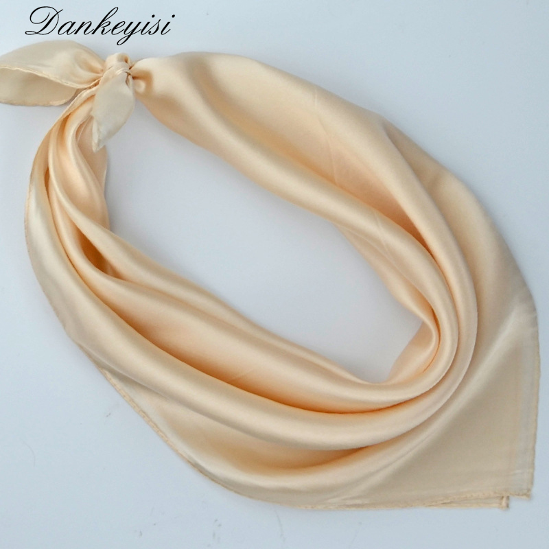 DANKEYISI 100% Silk Scarf Square Pure Color Brand Women Scarf High-grade Satin Silk Scarf 2016 small square scarf 53*53cm