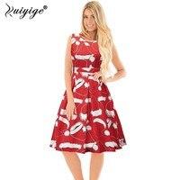 Ruiyige 2018 New Spring Christmas Dress Women Xmas Funny Santa Gifts Printed Sleeveless Knee Length Vestido
