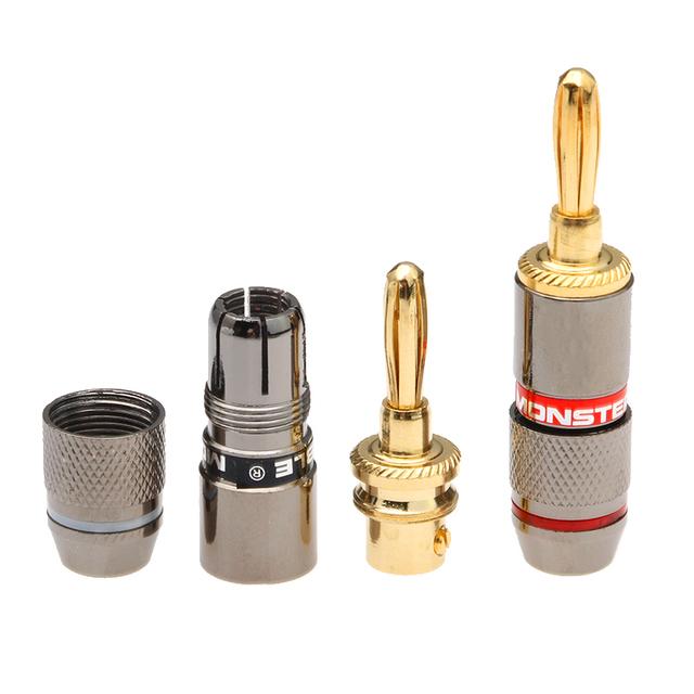 12PCS/Set 24K Gold Plated Copper Monsters Zinc Alloy Banana Plug Speaker Adapter Screw Audio Video Connectors