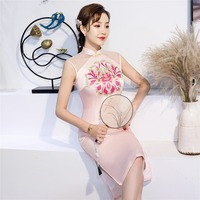 Shanghai Story Pink Qipao Chinese traditional Dress Sleeveless Knee Length cheongsam Lace Chinese Dress for Women