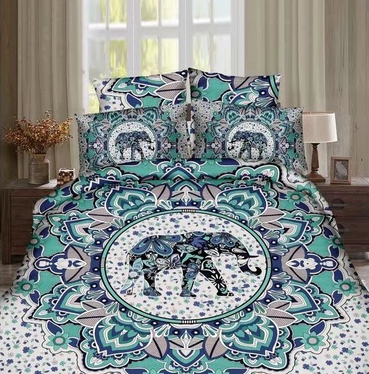 Hot India Style Elephant Printed Bedding Set Bedclothes BedSheets For  Adults Bedroom Decor Woven Full Queen Size Turquoise Color In Bedding Sets  From Home ...