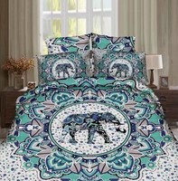 Hot India Style Elephant Printed Bedding Set Bedclothes BedSheets for Adults Bedroom Decor Woven Full Queen Size Turquoise Color