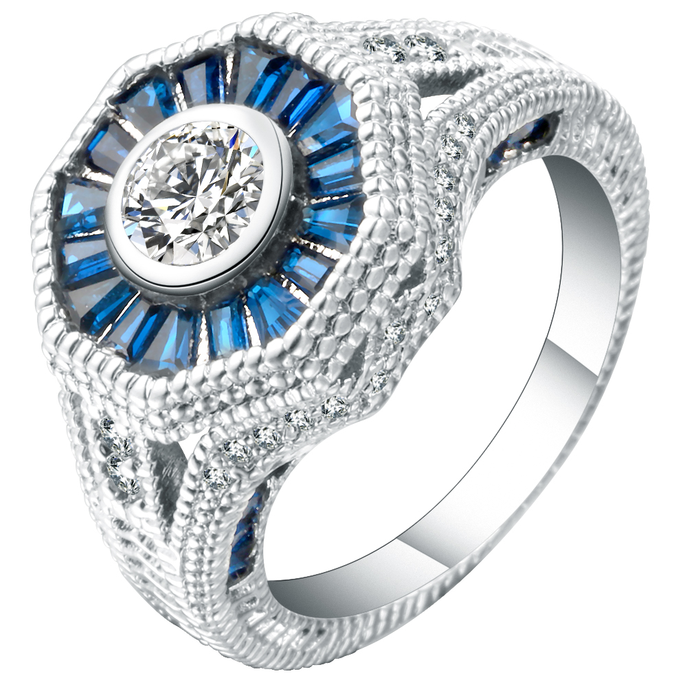 Luxury Cut Royal Blue Cubic Zirconia Ladies Finger Ring White Gold Filled Unique CZ Women Bands Custom Jewelry Ring For Sale