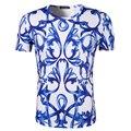Nueva llegada de los hombres de impresión 3d azul y blanco porcelana diseño clothing camiseta de manga corta cuello de o diseño de marca de alta calidad