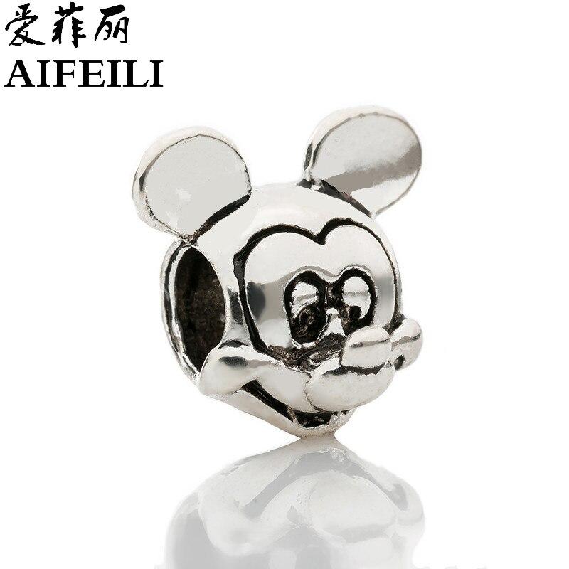AIFEILI New Free Shipping Silver Color Bead Charm European with Mickey cartoon Charm Pendant Bead Fit Pandora Bracelet