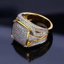 цена High Quality Vintage Mens Signet Rings Full With Stone CZ Crystal Gold Ring Men Jewelry Wedding Band Engagement Fashion Jewelry онлайн в 2017 году
