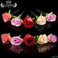 Atacado 20 pcs Muito Misturar Cores Rosa Flor Mulheres Casamento Nupcial Acessórios para o Cabelo Meninas Cabelo Aderência Cabelo Pinos Clipes Jóias
