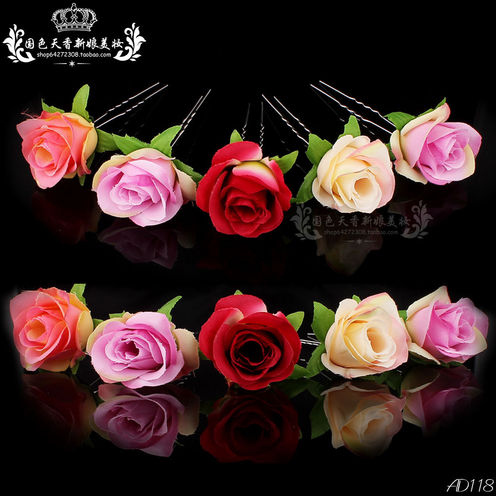 wholesale 20pcs lot mix colours rose flower women wedding bridal girls hair accessories hair pins clips