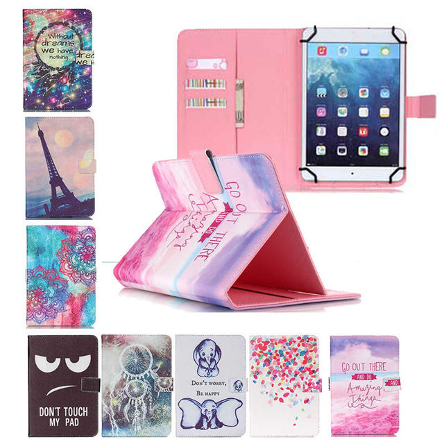 """For Huawei Mediapad T1 10 T1-A21w Flower Flip Stand PU Leather Case Cover For Universal 9.7"""" 10"""" 10.1"""" Inch Tablet+3 Gifts"""