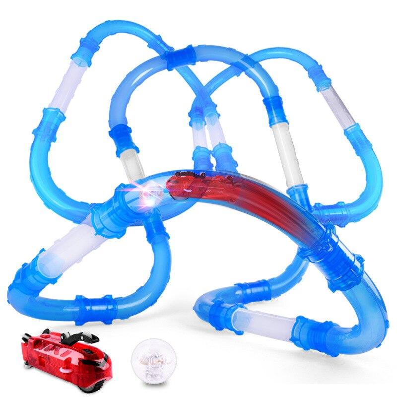 tubos de velocidade de controle remoto pista de corrida carro brinquedos flash luz diy tubo de