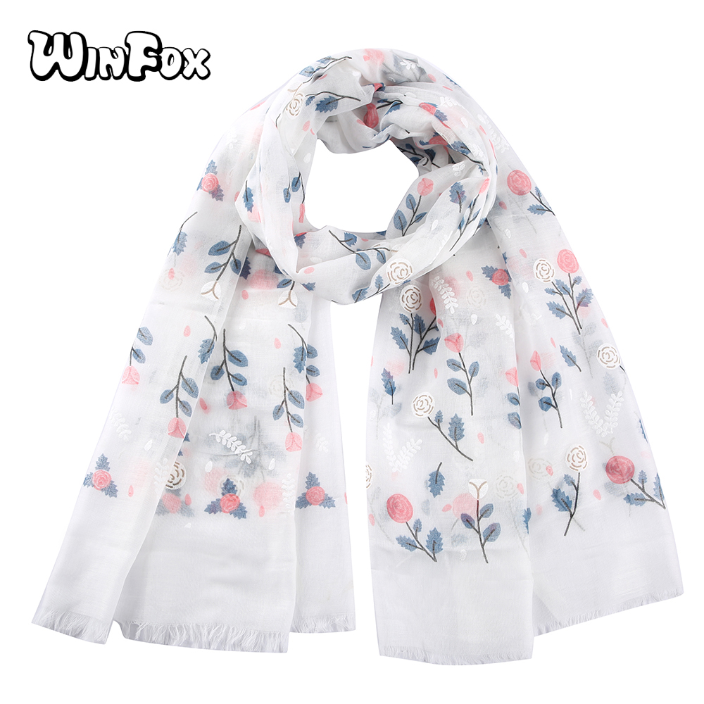 Winfox Luxury Brand Spring White Pink Scarf For Women Ladies Flower Floral Printing Long Wraps and Shawls Female Foulard