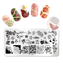 PICT YOU Nail Stamping Plates Rose Flower Series Mixed Pattern Image Stamp Stainless Steel Rectangle Art Template J002