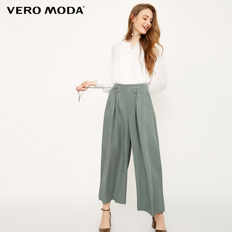 Vero Moda strap design cropped   wide     leg     pants   |318150511